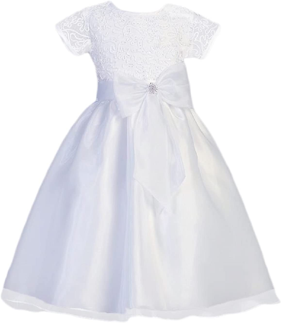 Lito Girls Corded Tulle & Sequins Special Occasion Communion Dress (Size 6)