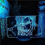 Lámpara de ilusión 3D LED Luz de noche Bleach Grimming Jagger Jack Lámpara de anime 7 colores que cambian la lámpara del cielo nocturno para la decoración del dormitorio del hogar