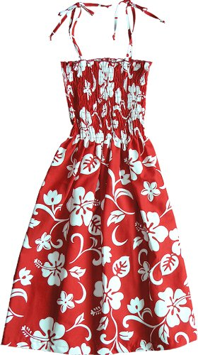 RJC Womens Classic Hibiscus Elastic Tube Top Sundress in Red - XL