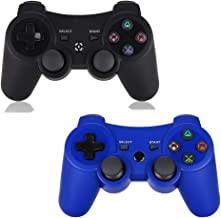 Game Controller for PS3 - Wireless Dual Vibration 3 KLNO Sixaxis Gamepad, Best Gifts for Kids, Son and Father in Family Playing with USB Charger Cable, for Sony Playstation 3 (Black+Blue)