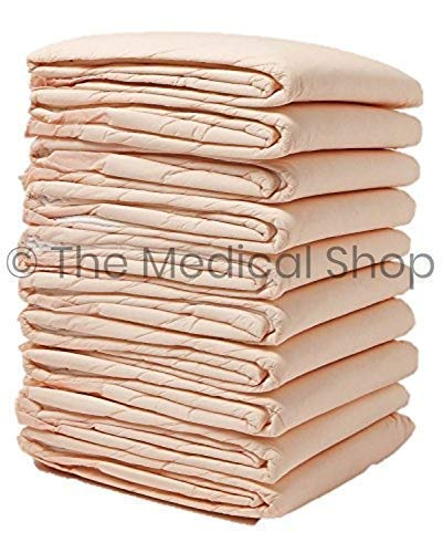 """Wave Medical Disposable Incontinence Pads (100-Count) Bed Covers for Women, Men, Elderly, Kids   6-Layer Super Absorbent Protection   Urine, Accidents, Liquid   Large 30"""" x 36""""   100g, 15g SAP"""
