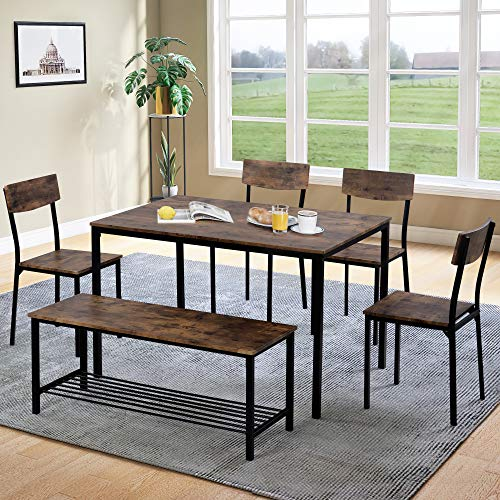 Dining Table and Chairs,M MUNCASO Bench Set 6 Industrial style Retro Kitchen Dining Table Set, Rustic Brown (Set of 6pcs)