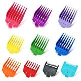 10 Pcs Multi-Color Hair Clipper Guards Assorted Length Premium Professional Barbers Attachment Guide Replacement Set Clippers Trimmers Compatible with MOST (not all) Wahl Clippers