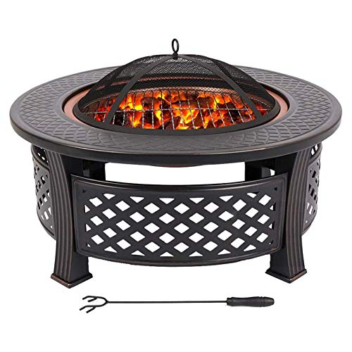 LJJSMG Multifunctional Fire Pit Table 32in Round Metal Firepit Stove Backyard Patio Garden Fireplace for Camping,Outdoor Heating,Bonfire and Picnic