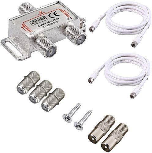 RUNCCI-YUN 2-Fach TV Radio F-Stecker Adapter Kabel Antennen Verteiler SAT Splitter Metall TV-Verteiler inkl. Adapter + 2 xKabel + 2 x F Stecker auf Koax Stecker + 3 x F Buchse auf Koax Kupplung