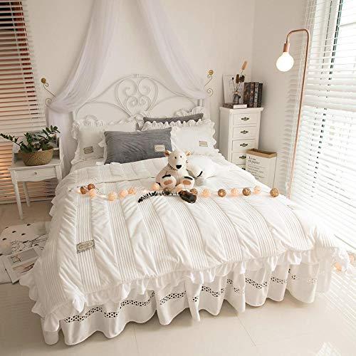 juego de ropa de cama 160x200-Estilo princesa de doble cara de terciopelo de coral de cuatro piezas de invierno para mujer falda de cama gruesa funda nórdica sábana funda de almohada regalo-Z_Cama de