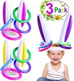 3 Pack Easter Inflatable Bunny Ring Toss Game Easter Rabbit Ears Ring Toss Party Games Inflatable Toys Gift for Kid Family School Party Favor Indoor Outdoor Toss Game (3 Set & 12 Rings)