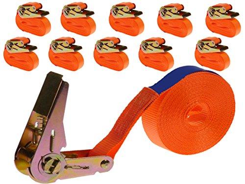 INDUSTRIE PLANET 10 Stück 800kg 6m Spanngurte mit Ratsche einteilig 1 teilig Zurrgurte Ratschengurte 25mm orange 800 daN 0,8t