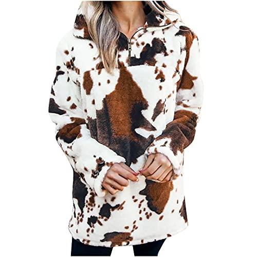 AOCRD Sudadera para mujer, de invierno, suave, con capucha, grande, con forro polar, de invierno, manga larga, Blanco, XL
