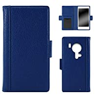 WHITENUTS らくらくスマートフォン F-12D ケース 手帳型 スパイン ブルー TC-D0374910/M