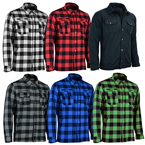 VASTER Holzfäller verstärkte Motorrad Motorrad Check Shirt CE gepanzerte Shirt für Männer Jungen abnehmbare Schutz 5-Farb (Grün und Schwarz, SMALL)
