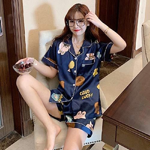 LLGG Cortas Pijamas Corto Mujer Verano,Cárdigan de Seda de Hielo sección Fina Dos Juegos, Servicio a Domicilio de seda-E310_L