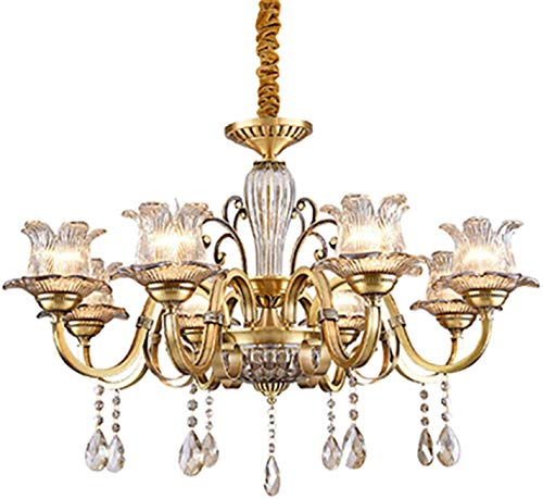YQDSY Lujera de Lujo Moderno Cristal Luces, Lámpara de Techo de Re Ajustable E14, Lámpara de Lámparas de Candelabros Modernos para Comedor Dormitorio Sala de Estar Bar-Re 8T sombras