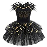 IMEKIS Vestido de ballet para niñas sin mangas, princesa cisne, bailarina, maillot de gimnasia, tutú brillante con volantes, falda de tul