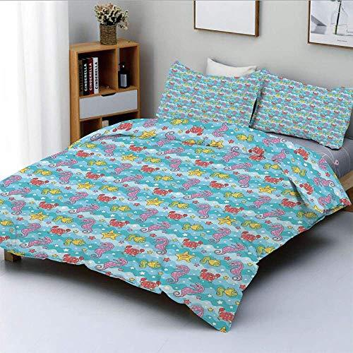 Qoqon Bettbezug-Set, Marine-inspirierte Cartoon-Meerestiere Seestern-Seepferdchen mit gewelltem Ozean und SternenDekoratives 3-teiliges Bettwäscheset mit 2 Kissenbezügen, Mehrfarbig, Kin