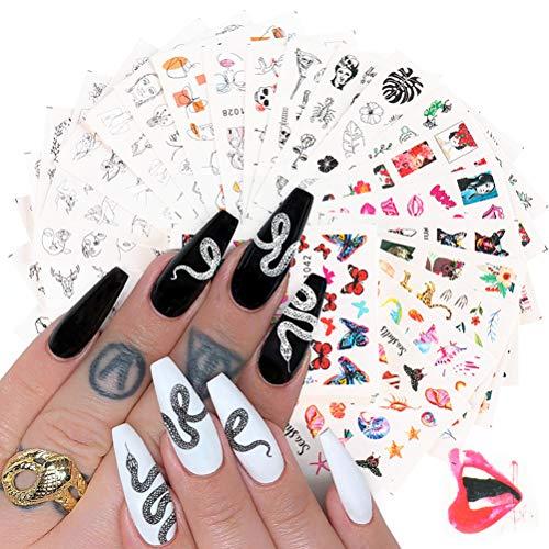 Nail Stickers, Nail Art Stickers, Nail Decoration, Nail Stickers Water Transfer Nail Stickers 48 Feuilles, Personnalité de Style Japonais Dark Letter Nail Stickers Bijoux