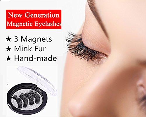 Mink Magnetic Eyelashes Prime Three Magnets Full Eye No Glue Long Handmade Natural Reusable False Magnet Lashes 4Pcs (1 Pair) (Long)