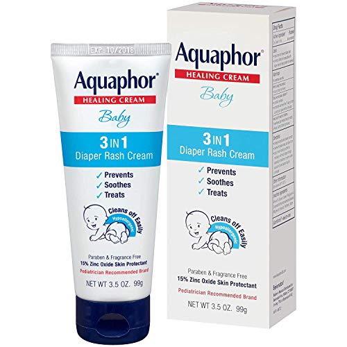 Aquaphor Baby 3 in 1 Diaper Rash Cream - Prevents, Soothes and Treats Diaper Rash, 3.5 oz. Tube, 2 Pack