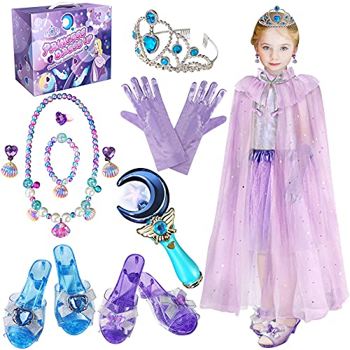 Princess Dress Up Jewelry Set, Girls Toys Gifts for Age 3, 4, 5, 6, 7, 8, 9, 10+ Years Old Kids Girls, Princess Play Shoes, Crown Wand and Pretend Jewelry for Birthday Christmas Party Favors Supplies
