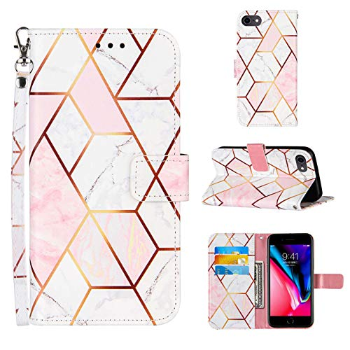 Compatible for iPhone SE 2020 Wallet Case,iPhone 8 Case/iPhone 7 Case,iPhone 6/6S Case,[Wrist Strap][Credit Cards Slots] 2021 New Marble Pattern PU Leather Stand Flip Cover (Pink/White)