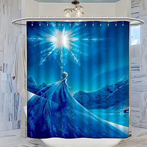 DRAGON VINES Die Eiskönigin Disney Animated Fantasy Movie Gardinen Snow Queen Elsa Magic Modern Badezimmer Duschvorhang Hauptbadezimmer, Kinderbadezimmer, Gäste-WC, 183 x 183 cm
