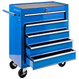 JOMAFA - Carro de herramientas para taller con 5 cajones azul | cerradura | 4 ruedas | 360º