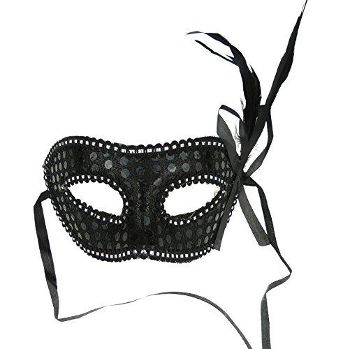 Venetiaans masker masker veer voor feestjes en ballen zwart