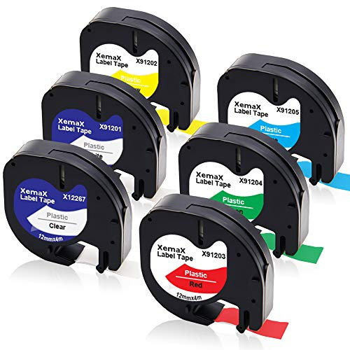 Xemax Compatible Plástico Cinta 12mm x 4m Reemplazo para Dymo LetraTag S0721610 12267 91201 91202 91203 91204 91205 Cintas para Dymo LetraTag LT-100H LT-100T LT-110T QX 50 XR XM 2000 Plus, 6-Pack