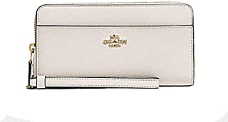Coach Accordian Leather Zip Wallet Wristlet - #F76517 - Chalk