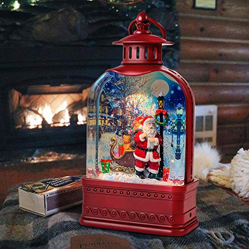 GYMAOYI Musical Snow Globe Lantern Christmas Snow Spinning Water Glittering Home Decoration and Gift (Santa Claus)
