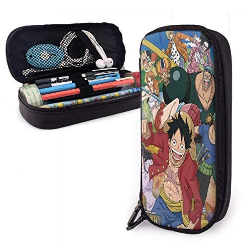 Estuche de piel para lápices escolares, caja de artículos de papelería anime de una sola pieza, estuche de maquillaje, estuche de herramientas