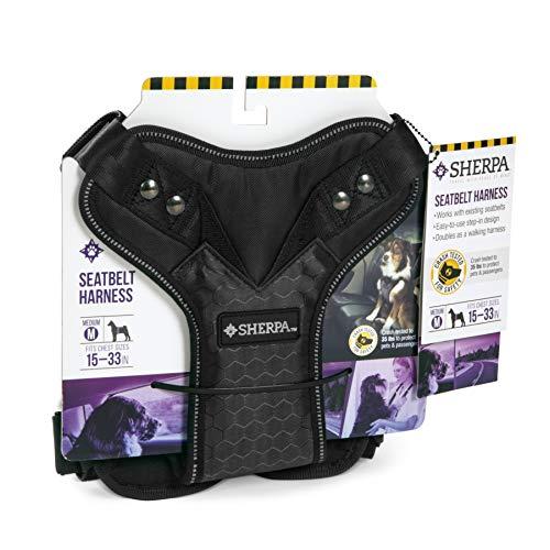 Sherpa Reise-Geschirr und Reisetaschen mit automatischer Schnalle, Crash-Test erprobt, Gurtzeug, Medium, schwarz