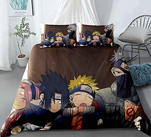 Dodunstyle Naruto Team Kakashi Anime Juego de edredón de 3 Piezas Ropa de Cama de poliéster Funda de edredón Funda de Almohada