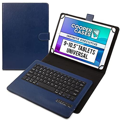 Cooper Infinite Esecutiva Custodia Tastiera per 9-10.5 pollice Tablet | Universale 2-in-1 Bluetooth Wireless Keyboard e Libro Foglio Case Cover (Blu)