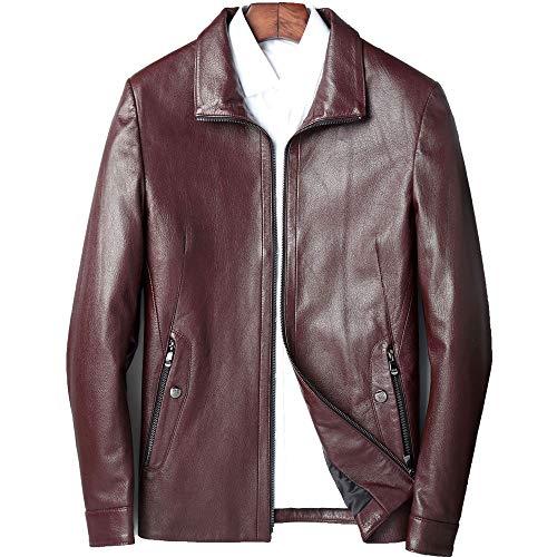 Para hombre Chaqueta de cuero con cremallera El cinabrio rojo de los hombres de cuero de los hombres chaqueta de cuero Casual chaqueta de cuero corta de la solapa de la camisa Casual chaqueta