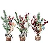 XONOR Lot de 3 mini sapins de Noël artificiels de 25 cm avec ornements pour la maison, la table, le bureau, la décoration de Noël