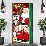 Decoraciones de Fiesta de Navidad, Cubierta Divertida de Puerta de Baño de Papá Noel de Navidad Bandera Fondo de Baño de Tela de Papá Noel para Decoraciones de Puerta, 70,9 x 35,4 Pulgadas