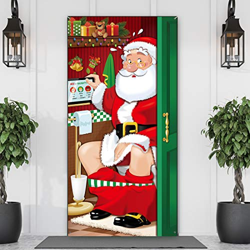 Christmas Party Decorations, Funny Christmas Santa Restroom Door Cover Fabric Santa Restroom Backdrop Background Banner for Christmas Door Decorations Christmas Party Supplies, 70.9 x 35.4 Inch