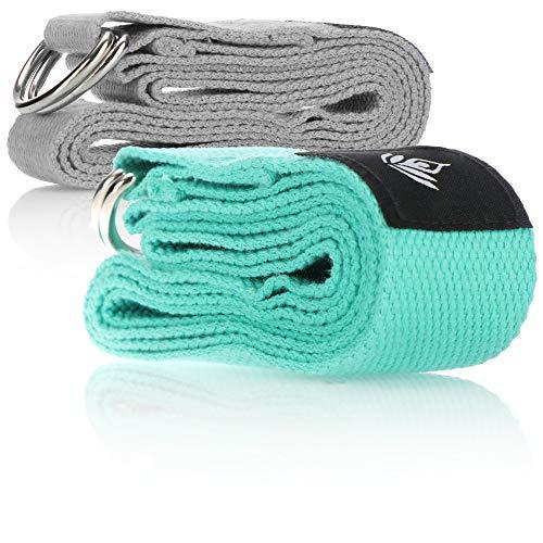 com-four 2X Cinta de Yoga Hecha de poliéster - cinturón de Yoga con Cierre de Metal - Cinta para un Mejor Estiramiento para Principiantes y usuarios avanzados (02 Piezas - Correa de Yoga)