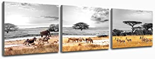 Purple Verbena Art African Savannah Animal Canvas Prints Wall Art Artwork Grey Sky Modern Framed Pictures to Photo Paintings Decor for Living Room Bedroom Home Decorations 16 x 16 inch 3 Panels