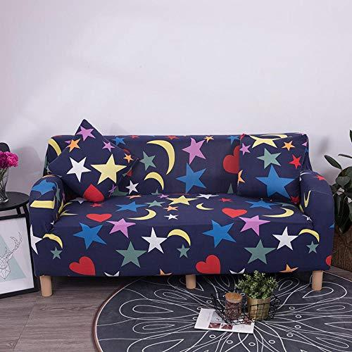Funda de Sofá3 Plazas,Jacquard Poliéster Funda Sofa Elasticas Suaves Resistentes Sofa Antideslizante, Cubierta para Sofa Protector-Luna Estrella Púrpura Oscura