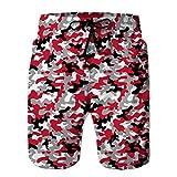 Teen Boys Funny Swim Trunks Ropa de Playa de Secado rápido Shorts Camuflaje Militar Rojo Negro Fondo Blanco tu diseño Bonito L