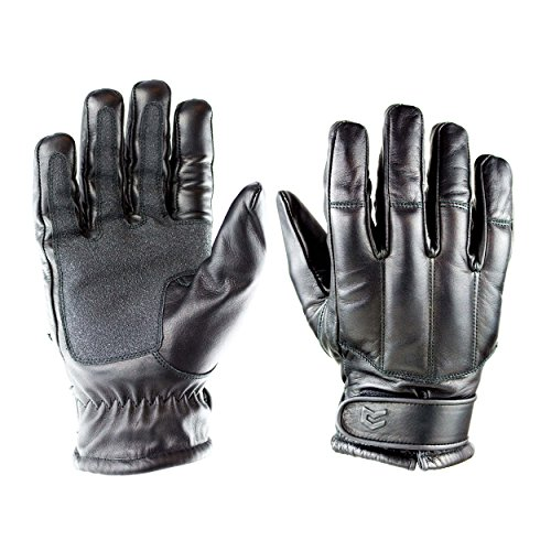 OBRAMO Quarzsand Lederhandschuhe schnitthemmend Einsatzhandschuhe Tactical Security, Schwarz, M