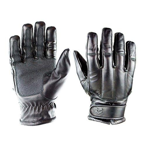 OBRAMO Quarzsand Lederhandschuhe schnitthemmend Einsatzhandschuhe Tactical Security, Schwarz, L