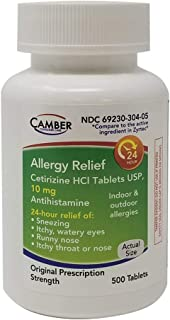 Allergy Relief Cetirizine HCl 10mg 500 Count Tablets