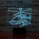 KangYD Avión de luz nocturna de helicóptero 3D, lámpara de ilusión óptica LED, G - Control de Telefonía Móvil, Regalo para amigo, Cambio colorido