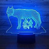 3D USB Novedad Ilusión Diseño de luz nocturna Led Dos personas Exprimir Leche de vaca 7 Cambio de color Animal Lámpara de escritorio Decoración para el hogar