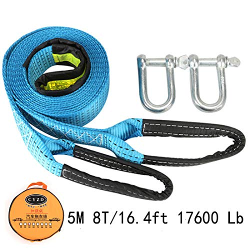 Feezi Tow Rope High Strength Towing Strap - 16.4' Long 17600 Lb(5 Maters 8 Ton), with Two Safety Hooks & Reflective Strip, Road Recovery Towing Cable Winch Strap