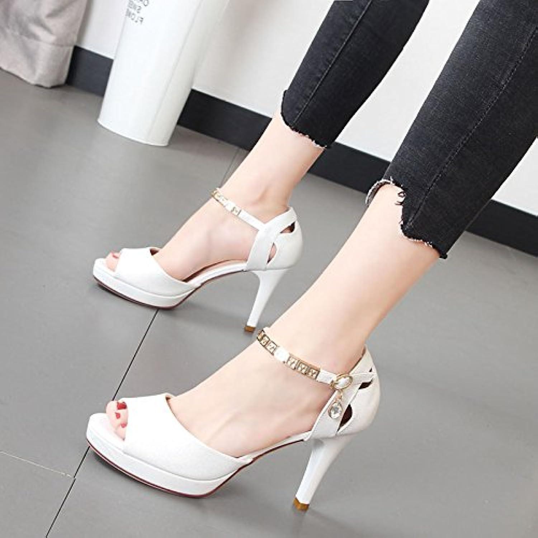 Xue Qiqi high-heel Schuhe Frauen Schuhe Metal Gürtelschnalle mit dem Wort, das Gitter waren Sandalen Weiblich  | Deutschland Shops  | Tadellos