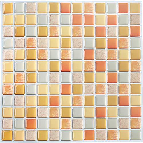 Yoillione 3D Fliesenaufkleber Mosaik Bad Fliesenfolie Küche Selbstklebende 3D Mosaik Fliesen Sticker Orange, Wasserdicht Fliesensticker Aufkleber Fliesen Folie für Badezimmer Wohnzimmer, 4er Pack
